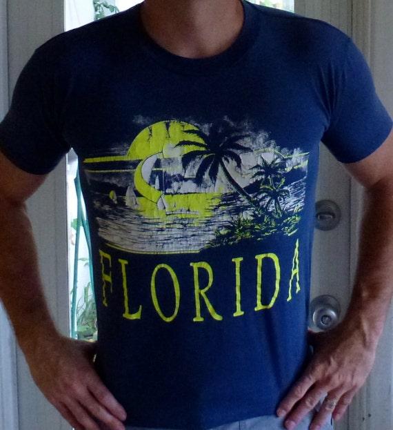 Vintage Florida beach burnout threadbare blue t-shirt - size large