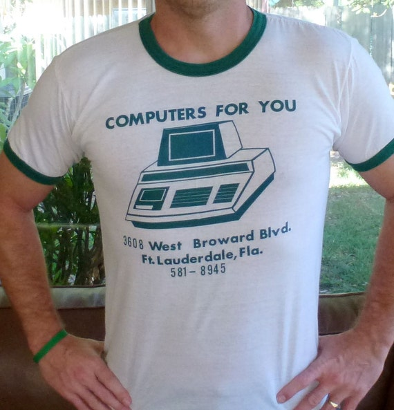 Vintage Computer t-shirt - white and green ringer - size large
