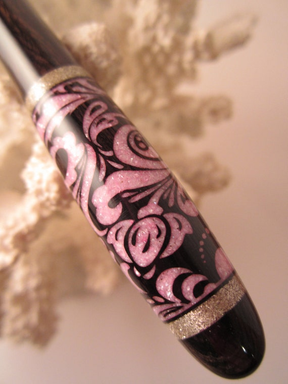 """Friday Night Sale-Brocade Hair Stick Featuring African Blackwood Inlaid with """"NEW"""" Pale Pink Fresh Water Pearls and Silver"""