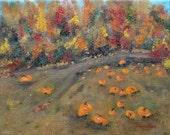 Oil Painting home & garden original autumn art Pumpkin Field 8x10 inch by Judith Rhue