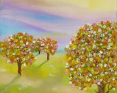Oil painting whimsical abstract art Ornamental Trees 8x10 inches by Judith Rhue
