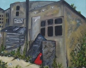 Homeless painting poverty Abandoned 12x12 inch canvas original oil painting art by Judith Rhue