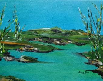 Lake Reeds - landscape oil painting, beauty, nature, mountains, wilderness, serenity, original art, 9x12