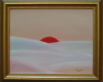 Oil painting abstract framed landscape original sun snow winter seasons surreal nature art red mountains14.25x17.25 - New Year's Eve Sunset