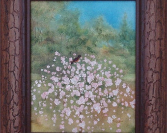 "Robin - framed oil painting, robin, bird, spring, summer, landscape, tree, weeping cherry, nature, sky, peace, hope, love,animals, 13""x15"""
