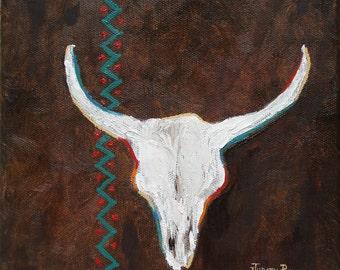 Southwestern Influence - skull, cow skull, steer, painting, original oil painting, southwest, desert, western, animal, 8x8