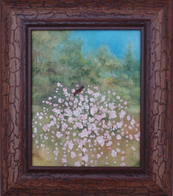 Robin - oil, painting, robin, bird, frame, framed, spring, summer, landscape, tree, pink, flowers, nature, sky, hope, animals,art, 13x15