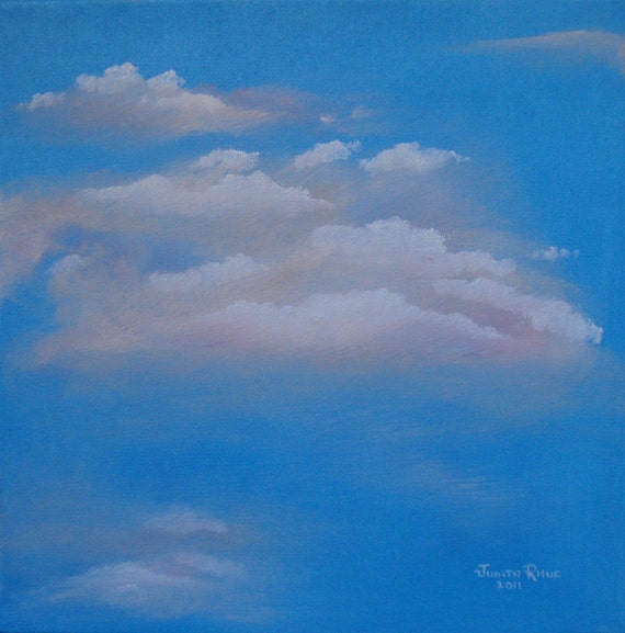 Clouds sky oil painting landscape art Touch the Skies 12x12  by Judith Rhue