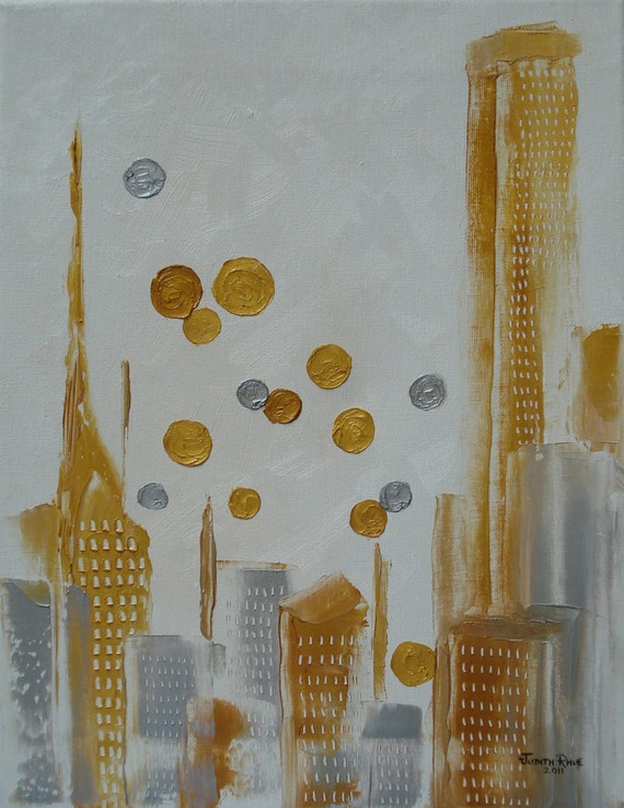 Abstract gold silver metallic city landscape art  Urban Polish 11x14 inch canvas oil painting by Judith Rhue