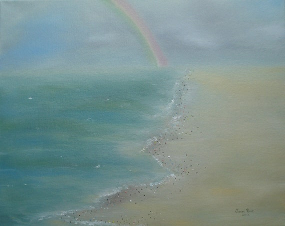 Rainbow painting  After The Rain 16x20 inch canvas original beach landscape oil painting art by Judith Rhue