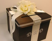 Wedding  Card Box Choco brown and Ivory  Gift Card Box Money Card Box Holder-Customize your color
