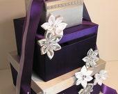 Silver and Purple Wedding Card Box Gift Card Box Money Box  Holder--Customize your color