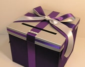 Silver n  purple Wedding Card Box Gift Card Box Holder--Customize your color