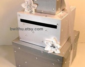 Silver and White Wedding Card Box Gift Card Box Money Box Holder--Customize your color