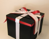Black and White/Red Wedding Card Box Gift Card Box Money Box Holder--Customize your color