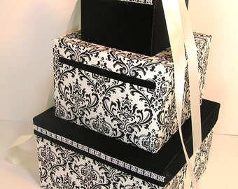 Wedding Card Box Damask and Black Gift Card Box Money Box Holder--Customize your color