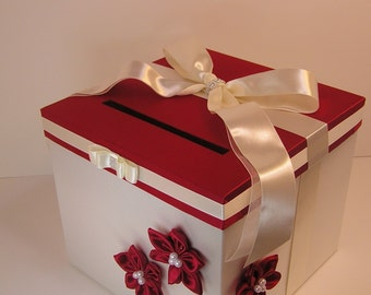 Wedding Card Box Red and Ivory /Off white Gift Card Box Money Box Holder--Customize your color