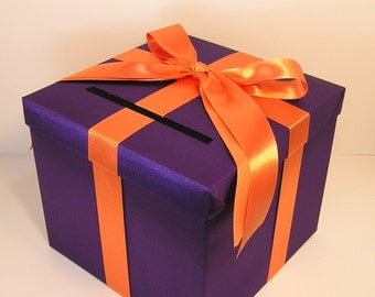 Wedding Card Box Purple and Orange Gift Card Box Money Box Holder--Customize your color (10x10x9)
