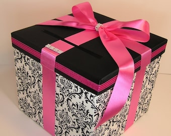 Wedding Card Box Damask and Hot Pink Gift Card Box Money Card Box  Holder -Customize your color