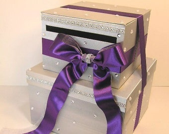 Wedding Card Box Silver and Purple Gift Card Box Money Box  Holder--Customize your color