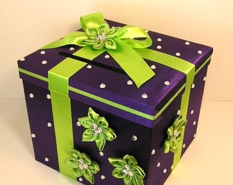 Wedding Card Box Purple and LIme Green Gift Card Box Money Box Holder--Customize your color(10x10x9)-Custom Made
