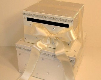 Ivory Wedding Card Box Gift Card Box Money Card Box Holder-Customize your color
