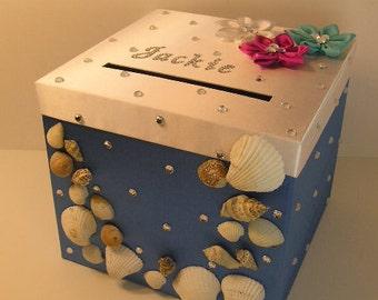 Wedding  Card Box Gift Card Box Holder Custom Wedding Post Card Box Holder-( Sea wedding party theme)
