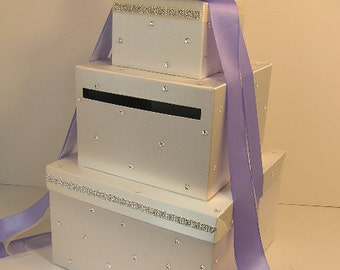 Wedding Card Box White and Iris Purple  Gift Card Box Money Card Box -customize your color