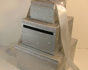 Silver Wedding Card Box Gift Card Money card Box Holder-Customize your color