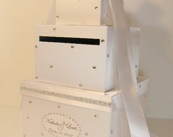 Wedding Card Box White Gift Card Money card Box Holder-Customize your color