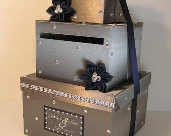 Wedding Card Box Dark Gray and Naby Blue Gift Card Box Money Box Holder--Customize your color