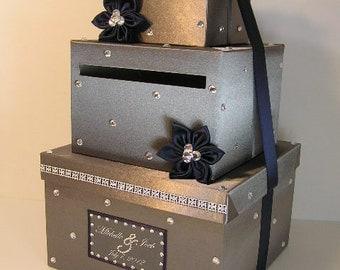 Wedding card box blue and silver gift card box money box wedding card box dark gray and naby blue gift card box money box holder solutioingenieria Choice Image