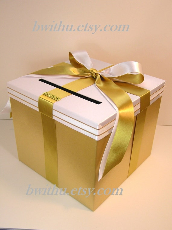Gold Wedding Gift Box : Gold and White Wedding Card Box Gift Card Box Money Box Holder ...