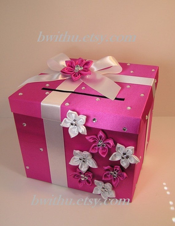 Hot pink and white wedding card box gift card box by for Homemade money box ideas