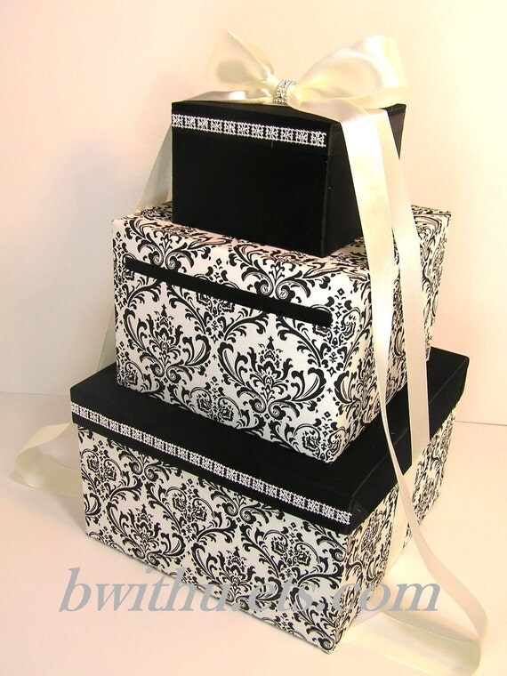 Black And White Wedding Gift Card Box : Wedding Card Box Damask and Black Gift Card Box Money Box Holder ...