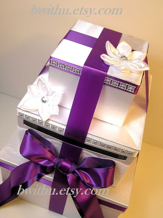 Wedding Card Box White and Purple Gift Card Box Money Box Holder ...