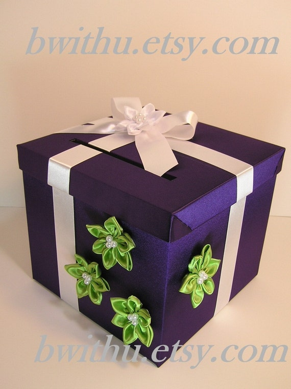 Purple Wedding Gift Card Box : Purple/ White and Lime Green Wedding Card Box Gift Card Box Money Box ...