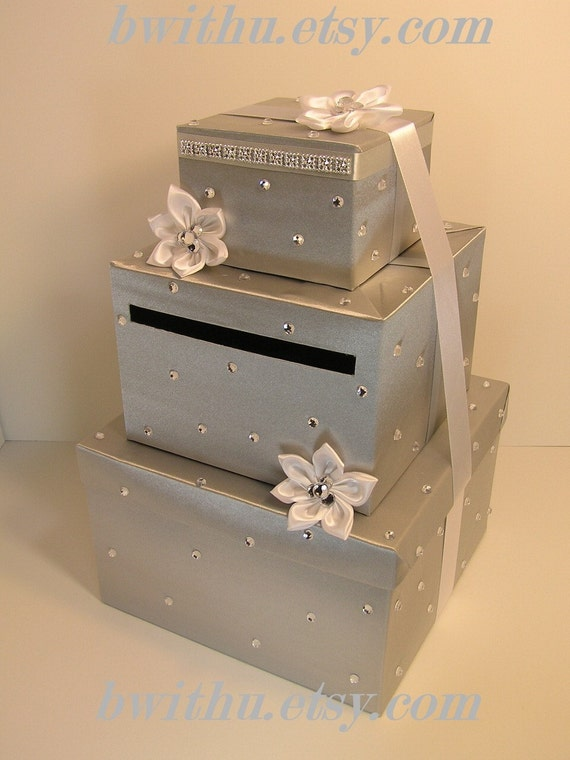 Silver And White Wedding Card Box Gift Card Box By Bwithustudio