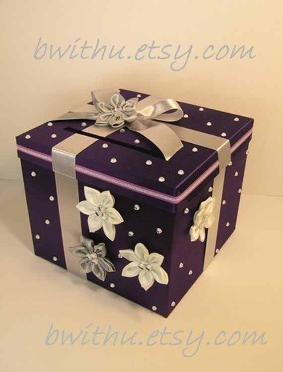 Purple and silver Wedding Card Box Gift Card Box Money Card Box Holder ...