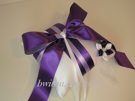 Wedding flower purple ring bearer pillow -Custom order.