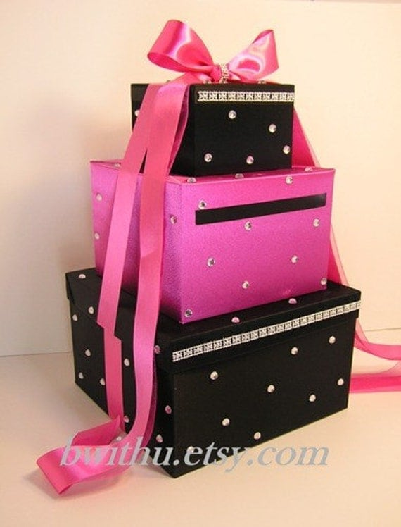 Black and Hot pink Wedding Card Box Gift Card Box Money Box  Holder--Customize in your color/made to order