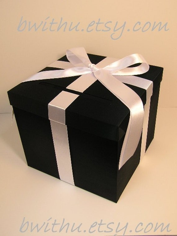 Black And White Wedding Gift Card Box : Black and White Wedding Card Box Gift Card Box Money Box Holder ...