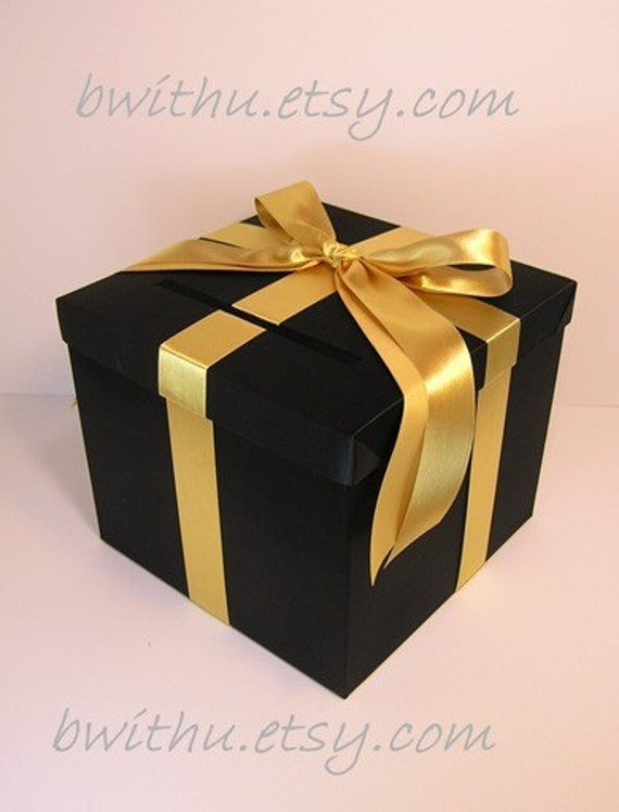 Black Wedding Gift Card Box : Black and Gold Wedding Card Box Gift Card Box Money Box Holder ...