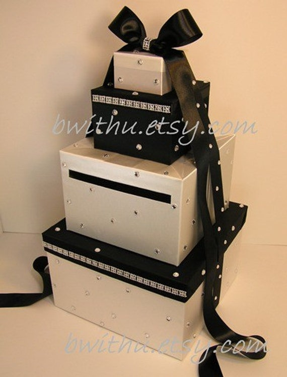 Wedding Card Box Ivory and Black Gift Card Box Money Box Holder--Customize your color