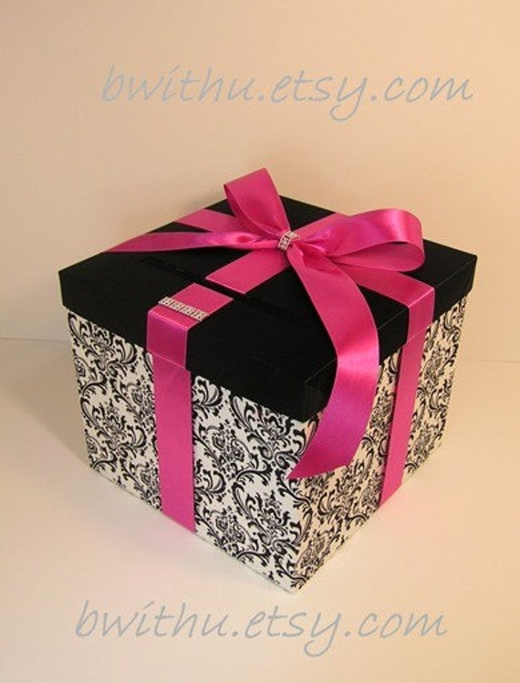 Damask and Fuchsia Wedding Card Box Gift Card Box Money Box  Holder--Customize your color