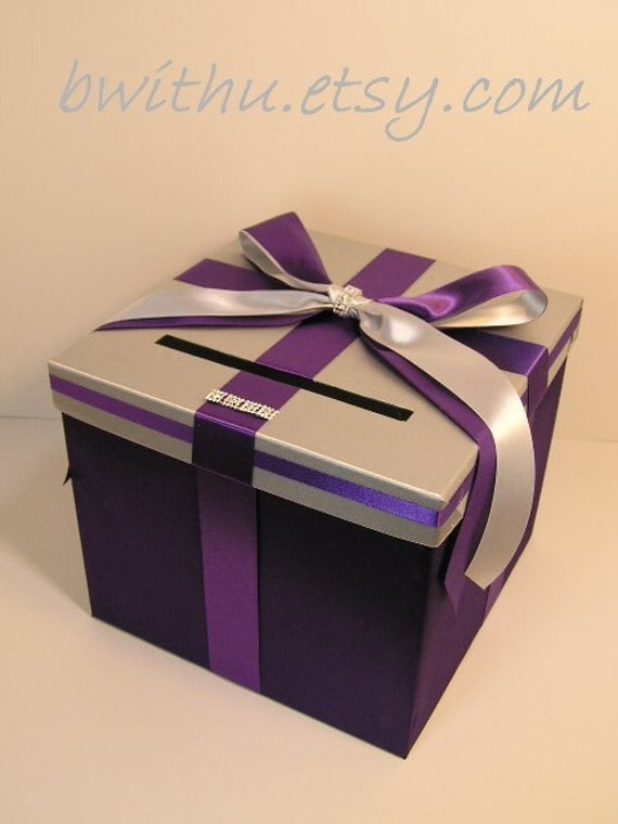 Wedding Gift Card Containers : Silver n purple Wedding Card Box Gift Card Box Holder--Customize your ...