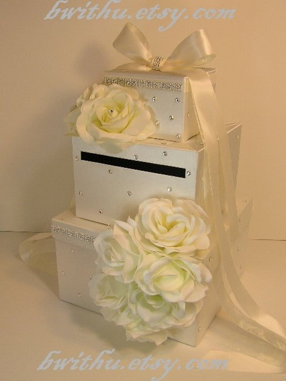 Ivory Wedding  Card Box Gift Card Box Money Box Holder--Special Custom order.Customize your color