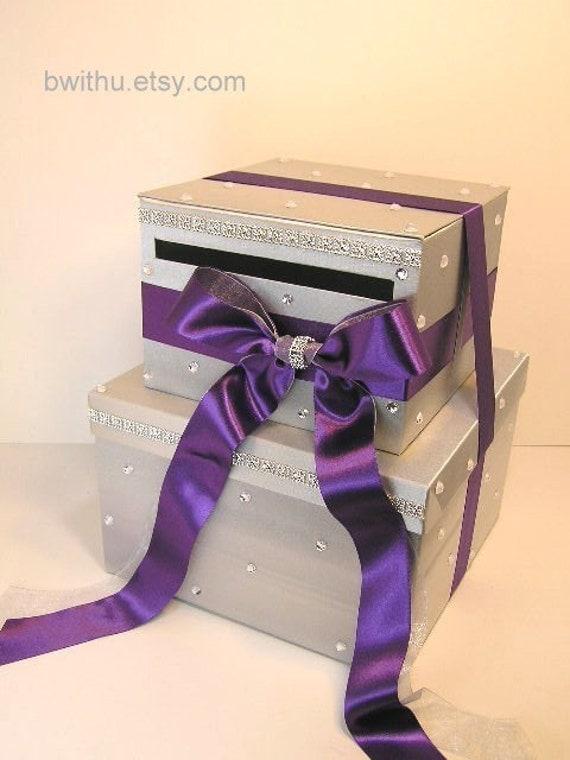 Wedding Card Box Silver and Purple Gift Card Box Money Box