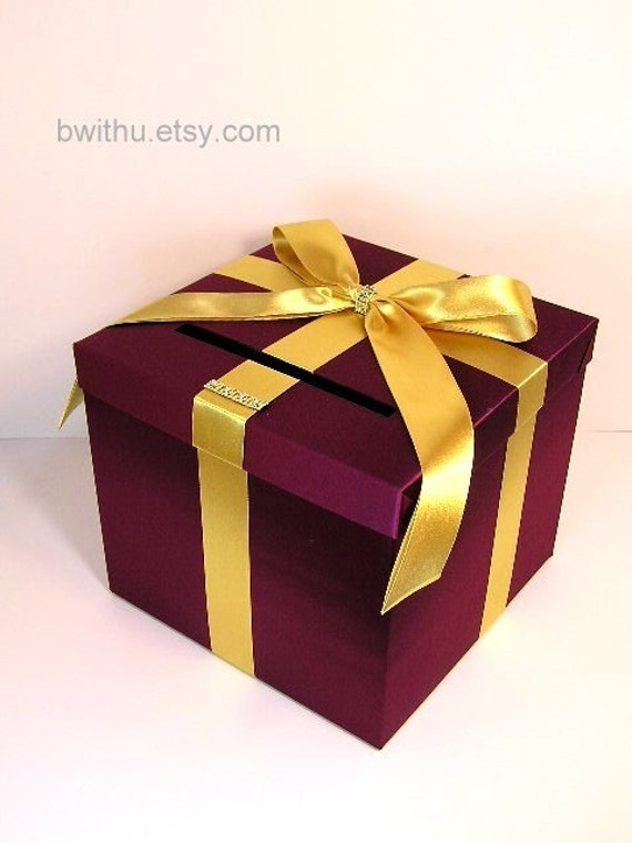 Wedding Card Box Burgundy and Gold Gift Card Box Money Box Holder-Customize your color