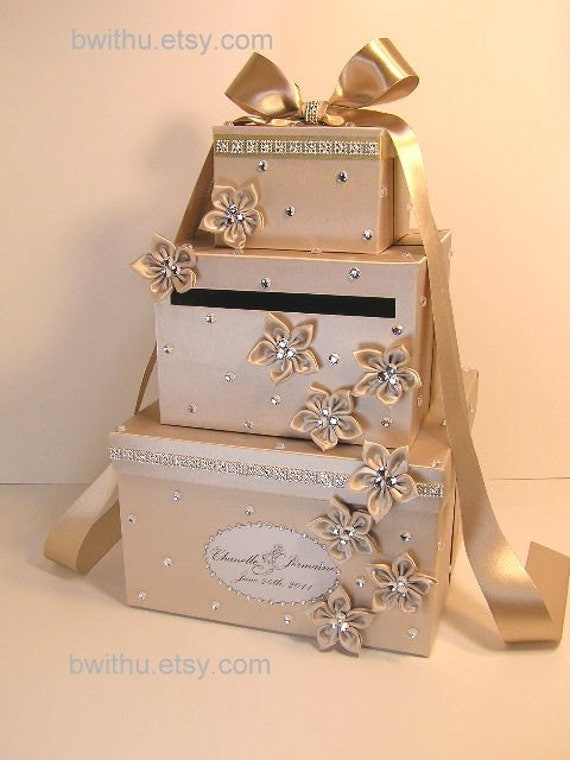 Wedding Gift Card Containers : Champagne Wedding Card Box Gift Card Box Money Box Holder-Customize ...